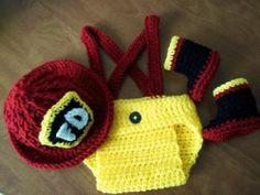 Fireman Hat Diaper Cover Boots Crochet Baby Photo Prop Newborn 3 Months | eBay