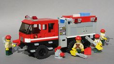 New lego fire truck toys ideas Lego Police Car, Lego Ambulance, Lego Truck, Toy Trucks, Fire Trucks, Lego War, Vintage Lego, Lego Projects, Custom Lego
