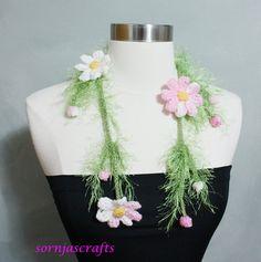 Sale Unique Crochet Cosmo Flower Lariat/Necklace