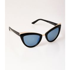 Retro Style Black & Gold Tasty Cat Eye Sunglasses ($18) ❤ liked on Polyvore featuring accessories, eyewear, sunglasses, multicolor, cateye sunglasses, tinted sunglasses, gold glasses, uv protection glasses and cat eye glasses