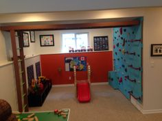 Indoor jungle gym for the basement Kids Indoor Gym, Indoor Jungle Gym, Kids Gym, Indoor Monkey Bars, Gym Setup, Daycare Setup, Kids Basement, Basement House, Basement Ideas