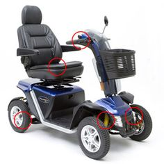 Pride Mobility Pursuit® XL Scooter. Features full suspension, low-profile tires & a hydraulic sealed brake system.