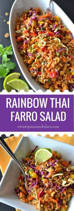 19 Farro Recipes That Make You Wonder Why It's Taken You So Long to Eat It Rainbow Thai Farro Salad - Crunchy colorful veggies and chewy, nutty farro in a creamy Thai peanut dressing. A perfect vegetarian lunch or side dish! Vegetarian Lunch, Vegetarian Recipes, Healthy Recipes, Healthy Breakfasts, Asian Recipes, New Recipes, Cooking Recipes, Thai Recipes, Clean Eating