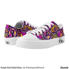 Purple Fish Tribal Pattern Printed Shoes