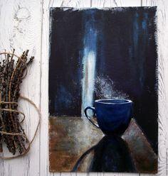 """Купить Картина """"Уединение"""" - черный, чашка, чашка кофе, тень, свет, оригинальный подарок"""