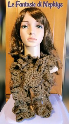 Crochet Ruffle Scarf + Flower Brooch and Swarovski Cabochon by LeFantasiediNephtys on Etsy