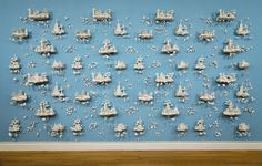Beth Katleman's Folly is a porcelain three-dimensional wallpaper inspired by toile de jouy. Quoting the decorative language of the rococo, handmade rosettes and elegant, Asian-inspired pavilions lu… Porcelain Jewelry, Porcelain Ceramics, Ceramic Art, Porcelain Tile, Toile Wallpaper, Unusual Art, High Art, Off The Wall, Rococo
