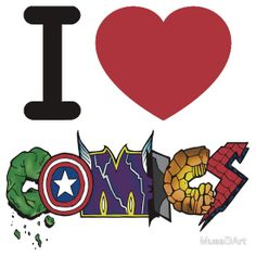 I <3 Comics Available to buy on… T-Shirts & Hoodies Kids Clothes Stickers  #hulk #captainamerica #thor #batman #thing #spiderman #marvel #comics #cool #typography