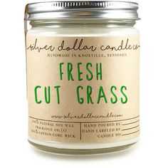 Fresh Cut Grass 8oz Scented Candle Strong Scented Candles Grass Candle... ($14) ❤ liked on Polyvore featuring home, home decor, candles & candleholders, candles, candles & holders, container candles, home & living, home décor, silver and scented wax tarts