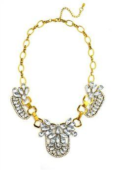 DaisyGem   Gold Rhinestone Crystal Flower Drop Gold Bib Statement Necklace