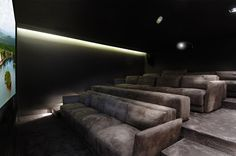 Contemporary A-Cero Residence in La Finca, Madrid Home Theater Furniture, Home Theater Decor, Best Home Theater, Home Theater Rooms, Home Theater Design, Home Decor, Salas Home Theater, Living Room Theaters, Home Cinema Room