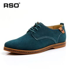 Green Suede leather men shoes