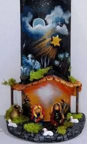 tejas decoradas con porcelana fria - Búsqueda de Google Christmas Nativity Scene, Christmas Mom, Christmas Makes, Christmas Crafts, Christmas Decorations, Clay Art Projects, Tile Crafts, Star Of Bethlehem, Mural Art
