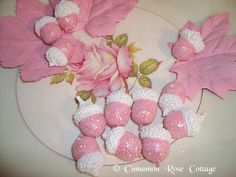 Painted Set/12 Pink Glittered Acorns and Leaves ~ Shabby Cottage Fall Decor