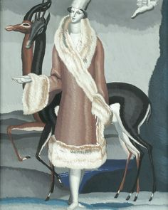 AN OIL ON BOARD BY JEAN DUPAS, CIRCA 1927. WITH TWO EXHIBITION LABELS THIS PAINTING WAS USED BY THE FOURRURE MAX IN THEIR COMMERCIAL ADVERTISING.