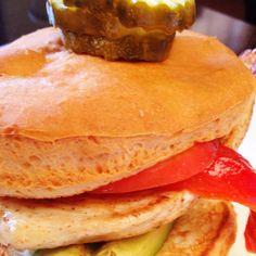 Chicken sandwich on a Local Oven gluten free hamburger bun at Crossroads Diner in Dallas, Texas.