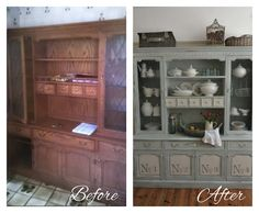 cool hutch. I love the little drawers! Beautiful make-over!!  Cat-arzyna