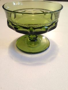Vintage Olive Green Indiana Glass Goblet in the Kings Crown Pattern | FREE Shipping