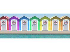 cuadro casetas de colores en la playa por miscuadrosfavoritos