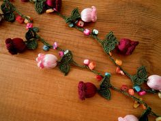 lilac tulip necklace crochet burgundy pink green by PashaBodrum