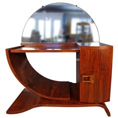 French Art Deco Walnut Vanity
