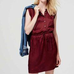 NWT Loft Crimson Sleeveless Shirtdress Brand new! I love this dress but it's too short for where I work  so I'm selling it. LOFT Dresses