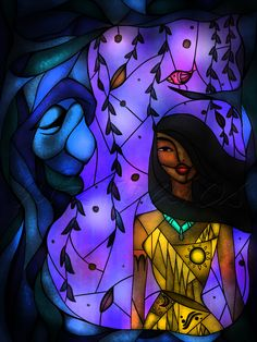 Pocahontas and Grandmother Willow Stained Glass, by Mandie Michel