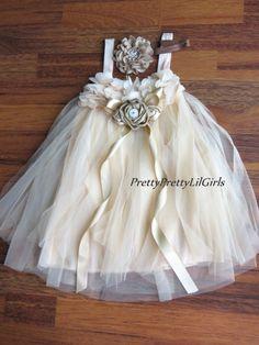 Champagne Beige Girls Lace Flower Girl Dress, Ivory Flower Girl Dress, Rustic…