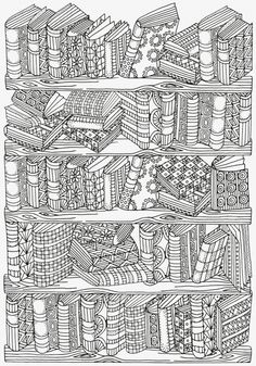 Bookshelf Doodle Coloring Page More Do you love a good book? You read a lot? If you do, then enjoy yourself while coloring this amazing, vintage Bookshelf Doodle Coloring Page. Coloring Canvas, Doodle Coloring, Mandala Coloring, Coloring Sheets, Coloring Books, Alphabet Coloring, Colouring Sheets For Adults, Abstract Coloring Pages, Adult Coloring Book Pages