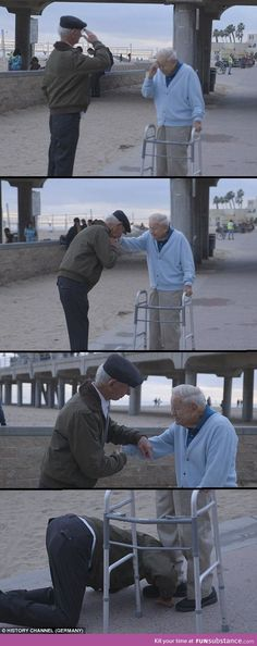 This Holocaust Survivor salutes a US Soldier who liberated him from a Concentration Camp.