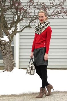 red sweater, faux leather mini skirt, fossil windowpane satchel, cutout booties, leopard scarf