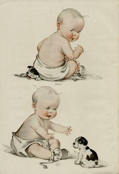 images about Illustration Vintage Baby Pictures, Vintage Images, Vintage Cards, Vintage Postcards, Baby Nursery Closet, Baby Illustration, Vintage Birthday, Vintage Magazines, Anime Art Girl
