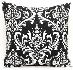 Black Pillows Decorative Pillows Accent Throw Pillow Covers  18 x 18 Inches - Black and White Damask