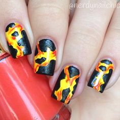 Lava nails! Inspired by @dutchnailss #lookdutchnailss