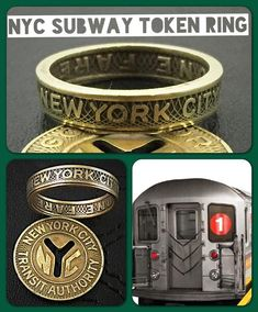 d7f3c0797c1 New York City Subway Token Ring Vintage - Sizes 4.5 - 11 Each NYC brass  subway