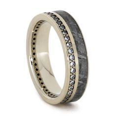 Modern White Gold Diamond with Gibeon Meteorite Eternity Band , Perfect Jewelry Gift for Man