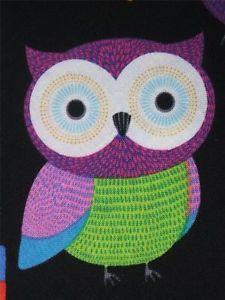Timeless Treasures Owls Black Retro Bird Fabric Yard