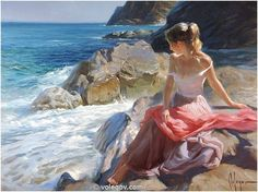 """Girl of Martossa"", oil on canvas, 2014. Artist: Vladimir Volegov.  Give me rocks and the ocean and I am contented.... Good thing I only have to look out of the window in the winter months."