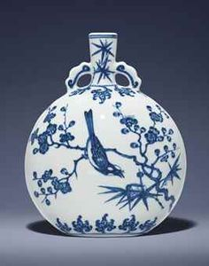 AN EXCEPTIONAL AND EXTREMELY RARE BLUE AND WHITE MING-STYLE MOONFLASK