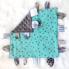 Silver Linings - baby boy sensory tag taggie security lovey lovie blanket. Turquoise black stars cotton and minky. Handmade by Dot Dot Baby