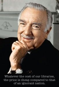 Walter Cronkite.  I learned to speak English by watching and mimicking Walter Cronkite in the early 70s.  It was my daily homework assignment from my kindergarten teacher when I came to America.  As a result, I am now accent neutral and a life-long news junkie.  That's what being a teacher is all about.
