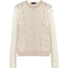 Lanvin Lace-paneled silk and cotton-blend cardigan (19.261.525 VND) ❤ liked on Polyvore featuring tops, cardigans, beige, lanvin top, lanvin, silk cardigan, lace insert top and lace inset top