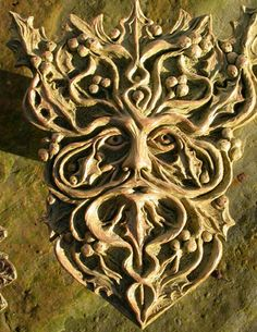 Holly King Antares Design by Gemma Goodall, multimedia artist. Holly King, Pagan Symbols, Wooden Wall Plaques, Architectural Sculpture, Tree Faces, Multimedia Artist, Nature Spirits, Wood Sculpture, Wood Carving