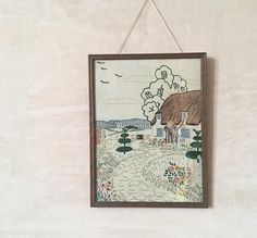 Vintage English cottage needlework picture - wooden framed embroidery, rural, idyllic, pastoral, rustic, shabby chic, romantic