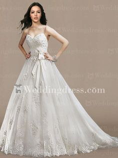 $259.00 Glamorous Tulle Lace A-line Bridal Gown with Sash DE441