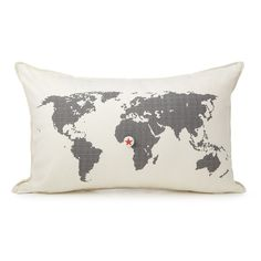 HEART MARKS THE SPOT PILLOW | World Map Decor | UncommonGoods