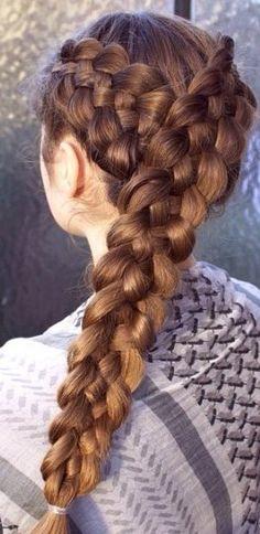 Two diagonal 5 strand braids.