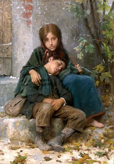 Young Beggars – William Adolphe Bouguereau – Oil Painting Reproductions and Prints from Canvas Replicas William Adolphe Bouguereau, Art Magique, Munier, Art Ancien, Oil Painting Reproductions, Beautiful Paintings, Sad Paintings, Oeuvre D'art, Love Art