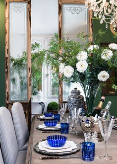 Though to the garden room Green Dining Room, Green Rooms, India Jane, Uk Homes, Blue And White China, Faux Flowers, Dining Area, Blues, Colours