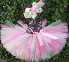 Sweet Blossom Baby Tutu-Girls Tutu-Pink Tutu-Pink Green Tutu Set-Baby Shower-Easter Tutu-Birthday-Princess-Pageant-Photo Prop-Spring-Bows on Etsy, $24.00